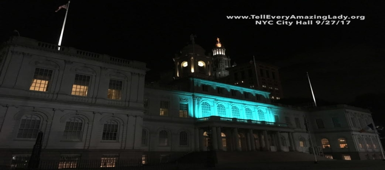 T.E.A.L.® Lights City Hall Teal for Ovarian Cancer Awareness Month