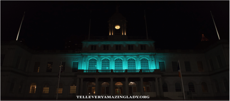 NYC City Hall Turns TEAL