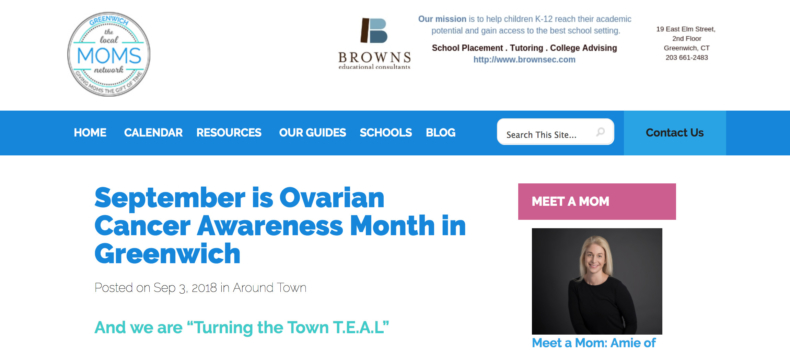 Subject: Greenwich Moms feature on National Ovarian Cancer Awareness Month