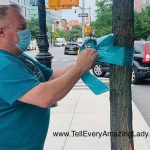 Tying teal ribbons on N. Flatbush, Fifth, and Myrtle Avenues